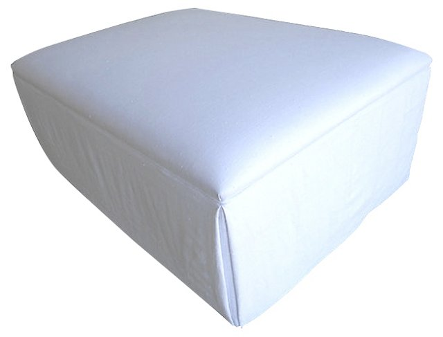 European White Linen Skirted Ottoman