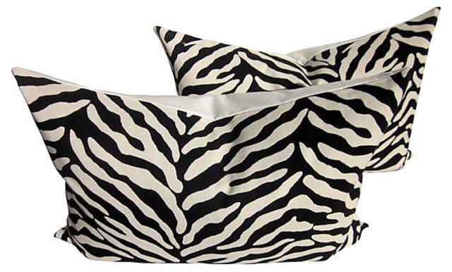 Zebra Print & White Linen Pillows, Pair