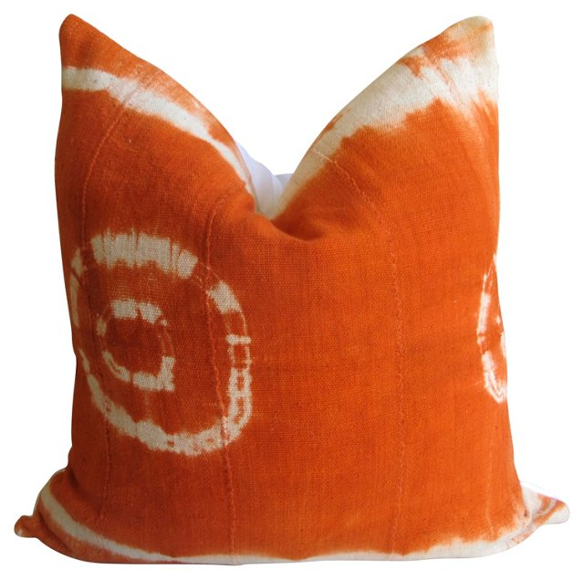 Tangerine Mud Cloth & Chambray Pillow
