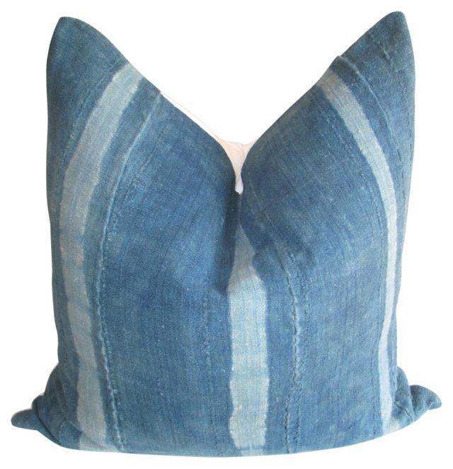 African  Indigo  & White Linen Pillow