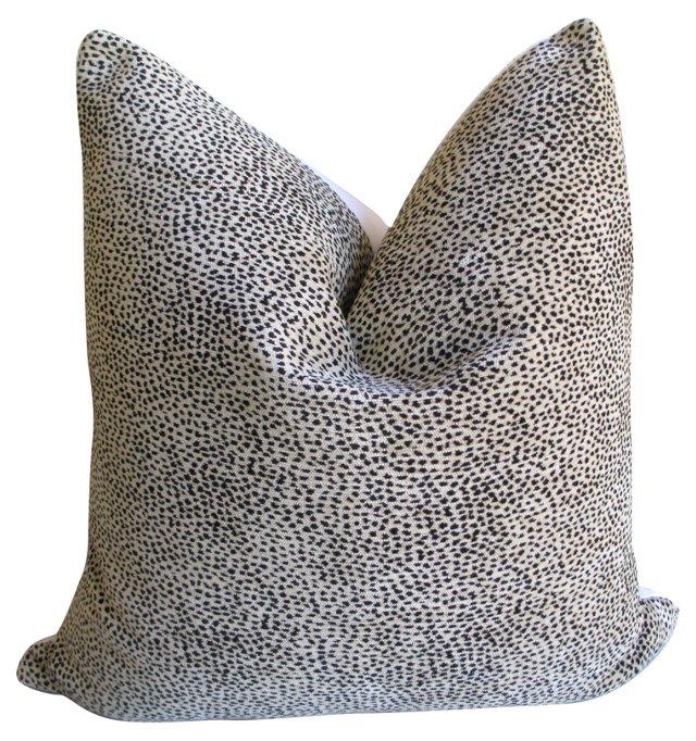 Woven   Cheetah  & White Linen Pillow