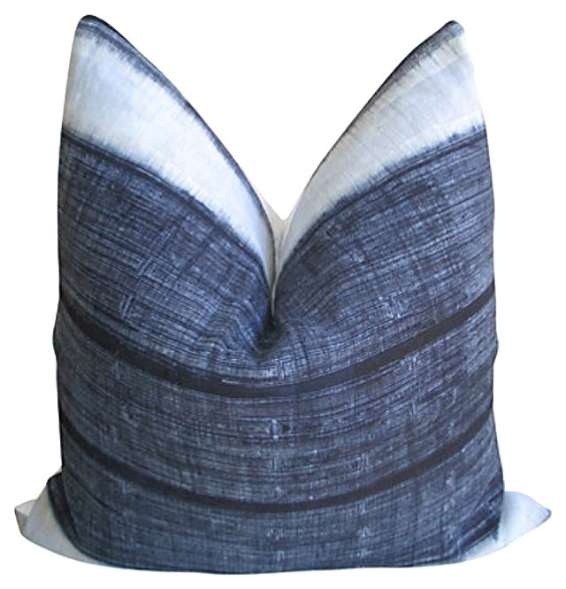 Indigo  Batik  & White Linen Pillow
