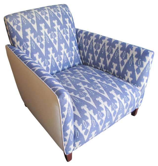 Blue Ikat & White Linen Club   Chair