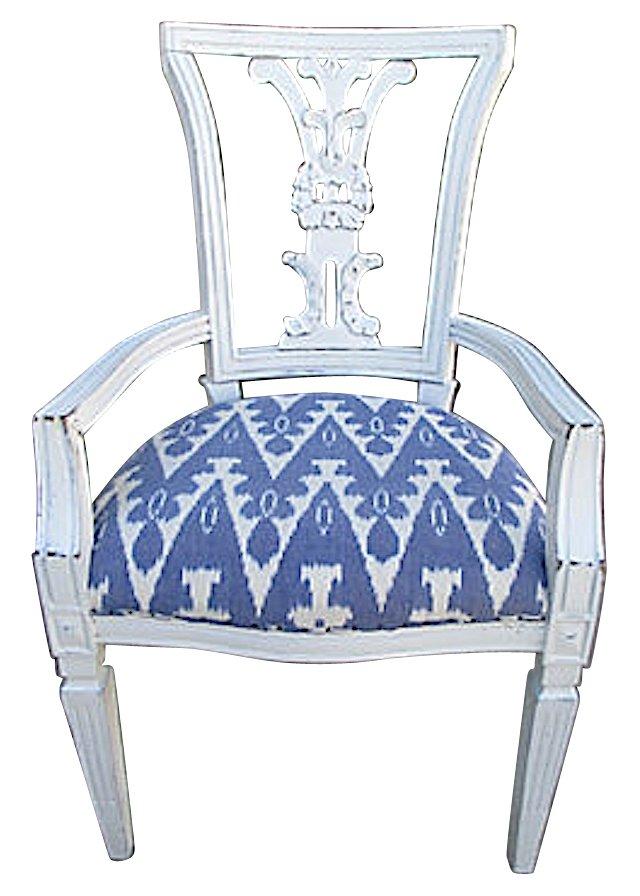 Blue & White   Ikat Armchair
