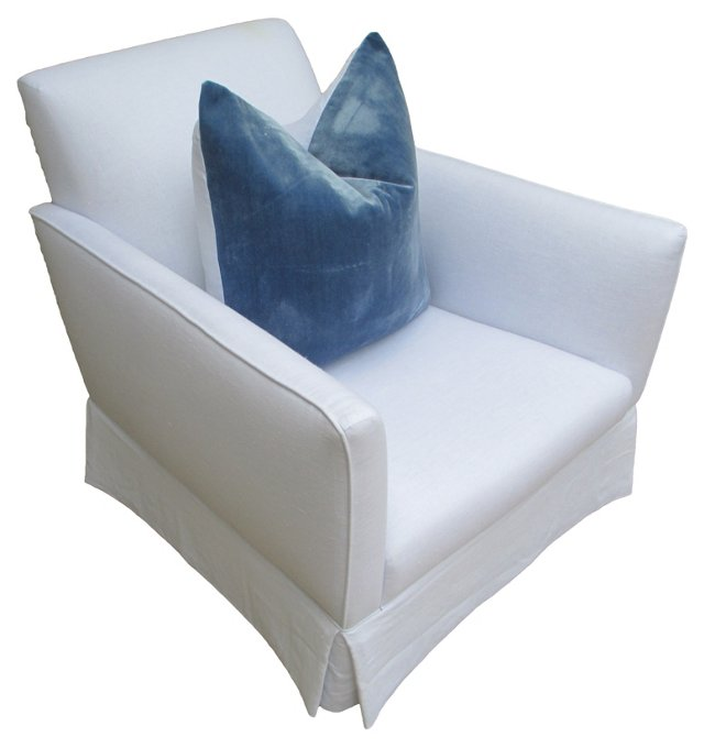Club  Chair w/ Stonewashed Velvet Pillow