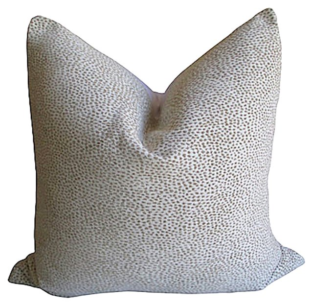 Woven   White  Cheetah & Linen Pillow