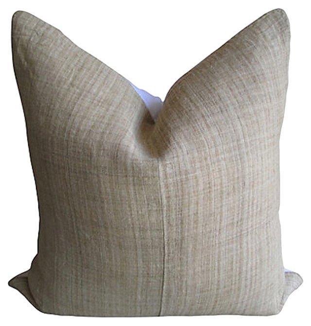 Hmong & White Linen  Pillow