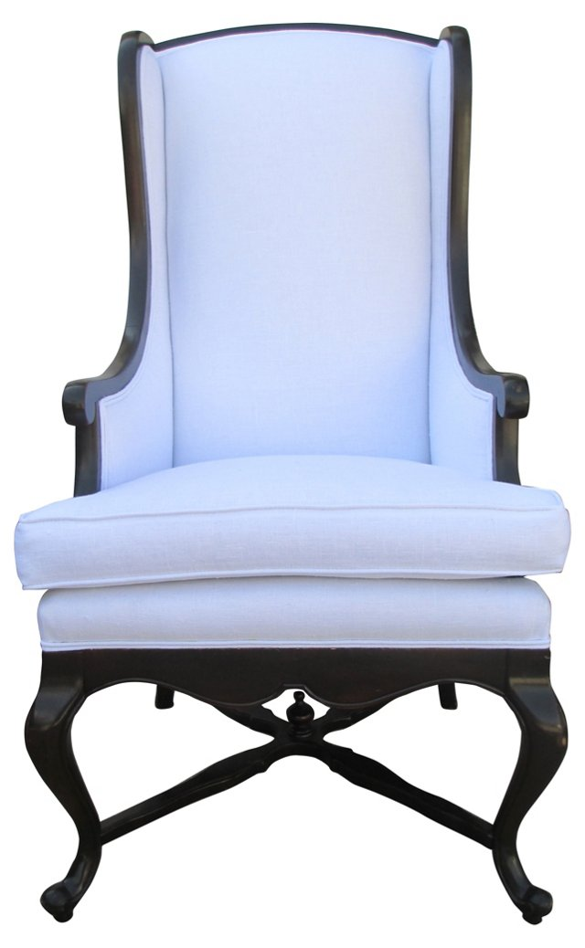 White  Linen High-Back    Chair