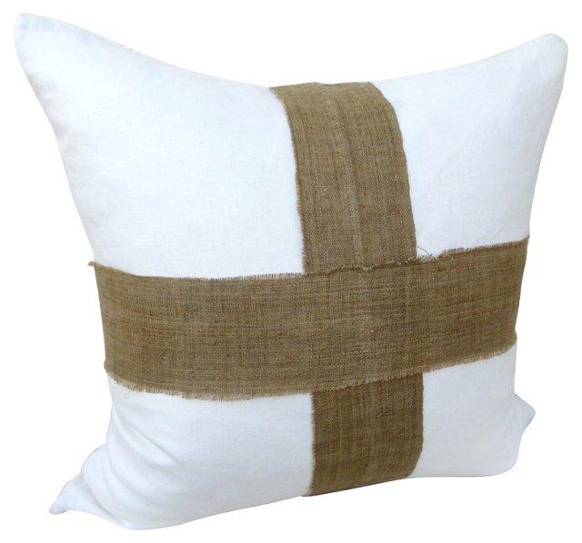 White Linen & Hmong Hemp Pillow