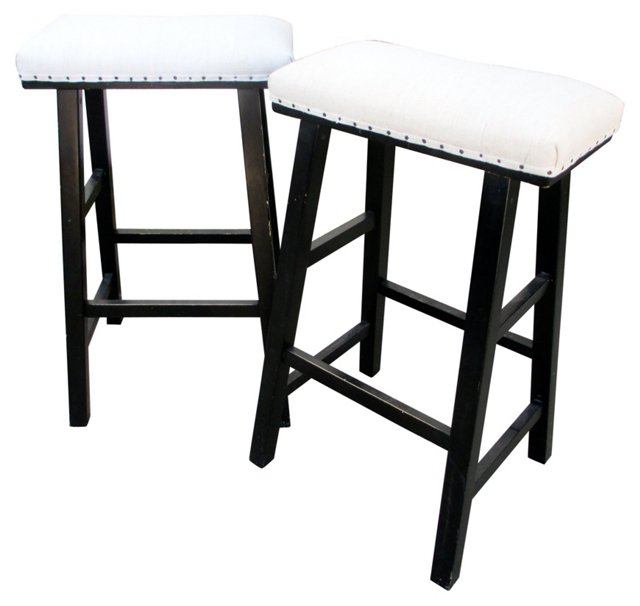 Wooden Stools in French Linen, Pair
