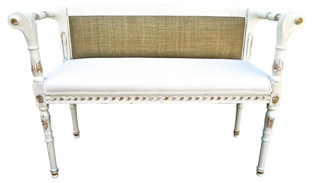 White Linen  Bench Settee