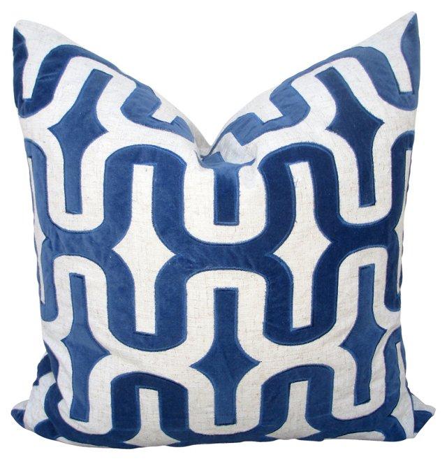 Indigo   Cut Velvet   Pillow