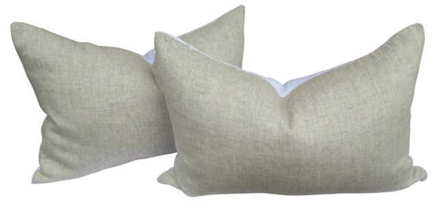 Flax  European Linen Pillows, Pair
