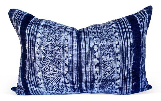 Indigo   Batik   &   White  Linen Pillow