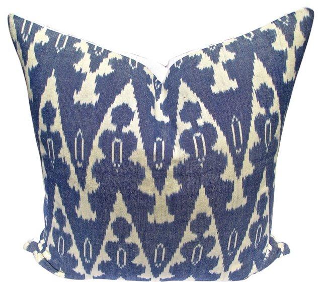 Blue Ikat & White Linen Pillow