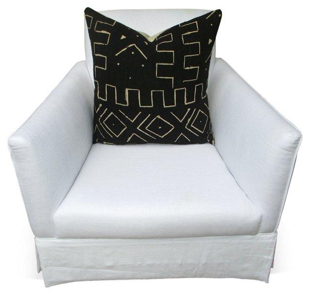 Linen Club Chair w/  African Pillow