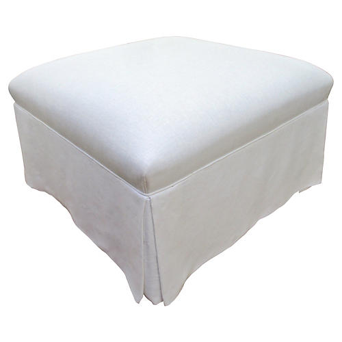 Custom White European Linen Ottoman