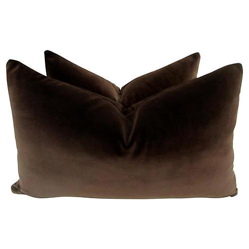 Belgian Chocolate Velvet Pillows, Pair