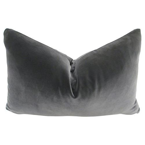 Belgian Slate Gray Velvet Lumbar Pillow