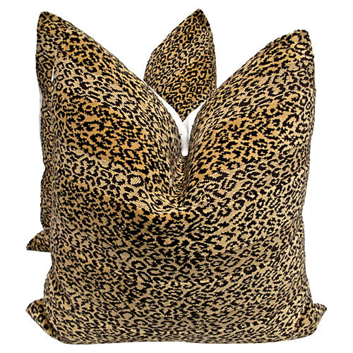 Scalamandré Velvet & Linen Pillows, Pair