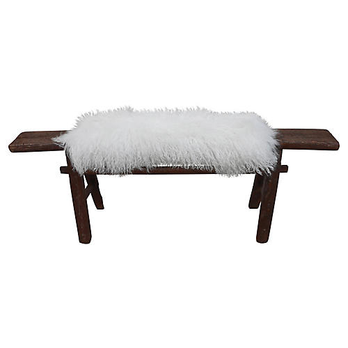 Antique Shandong Bench w/ Tibetan Wool