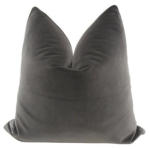 Belgian Carbon Gray Velvet Pillow