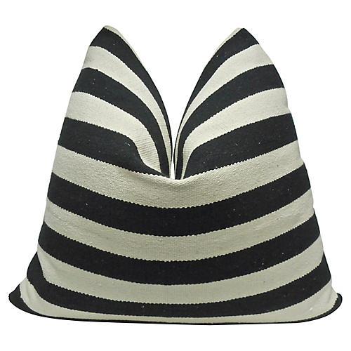 Woven Black Stripe & French Linen Pillow