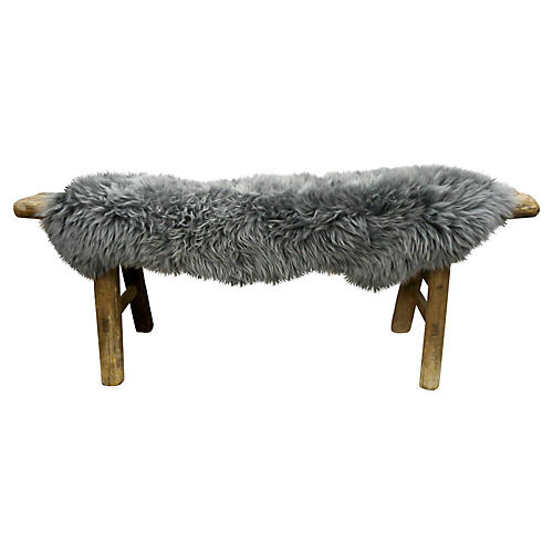 Shandong Bench w/ Natural Lambswool