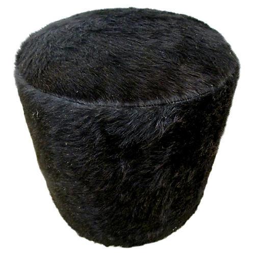 Natural Black Hair-On-Cowhide Ottoman