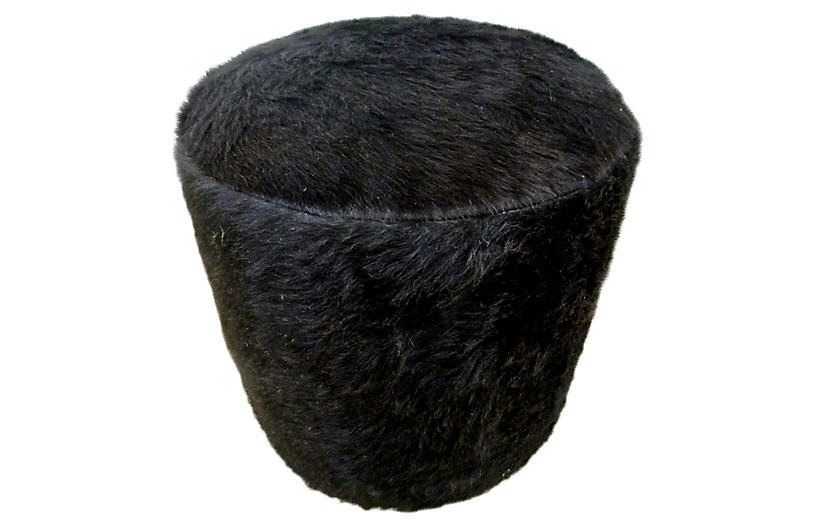 Natural Black Hair-On-Cowhide Ottoman