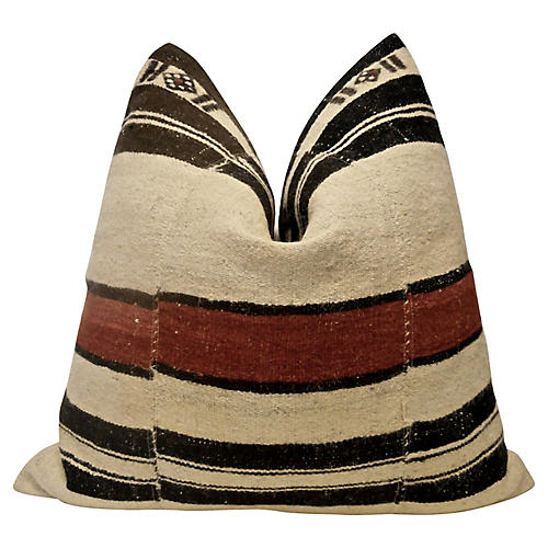 Tribal Wool & French Linen Pillow