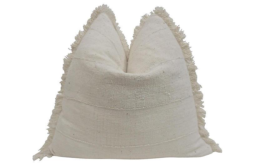 Natural Hand-Woven Fringe Pillow