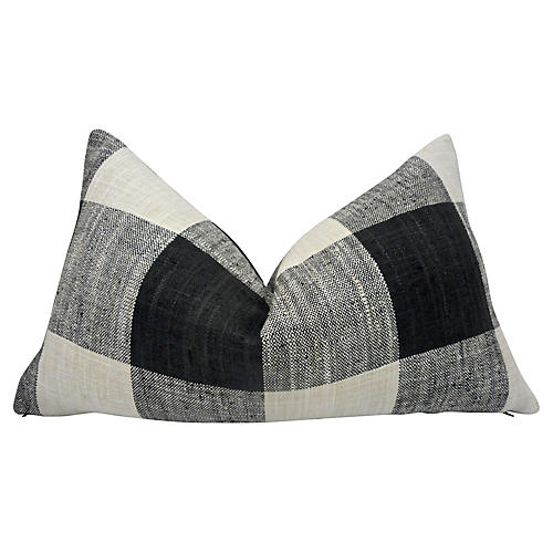 Black & Natural Plaid Pillow