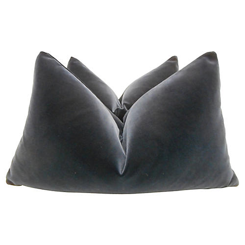 Belgian Gray Velvet Pillows / Pair