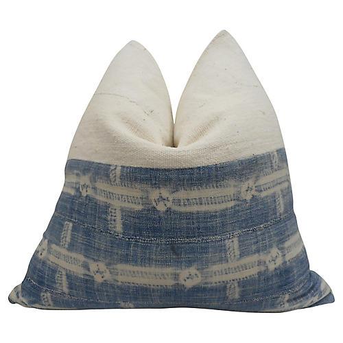 Indigo Blues & Natural Mudcloth Pillow