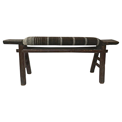 Antique Shandong Stool w/ Handwoven Wool