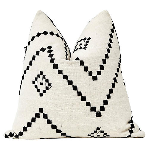 India Embroidered Wool Pillow