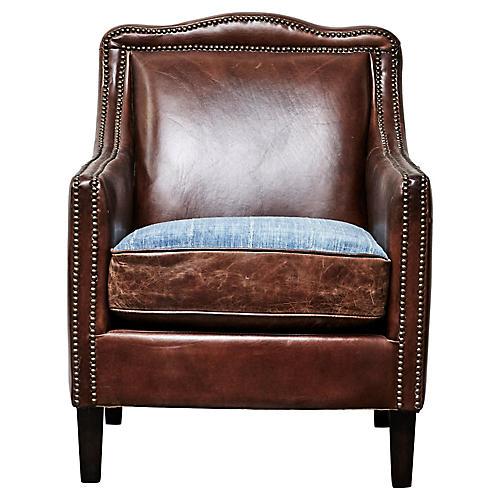 Indigo Blues & Leather Club Chair