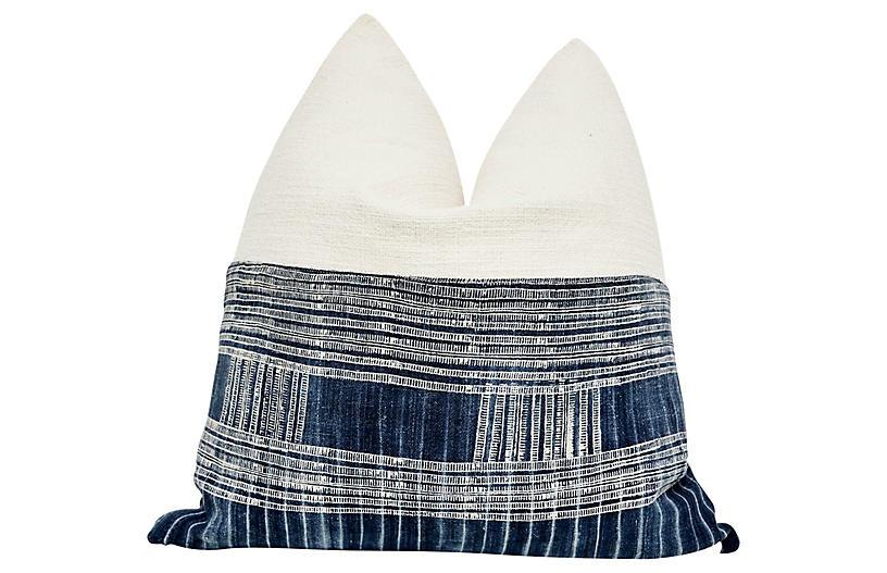 Large Batik Indigo & Pure Linen Pillow