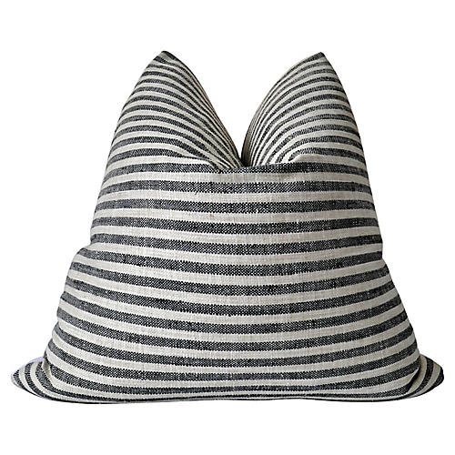 Black & Natural Striped Linen Pillow