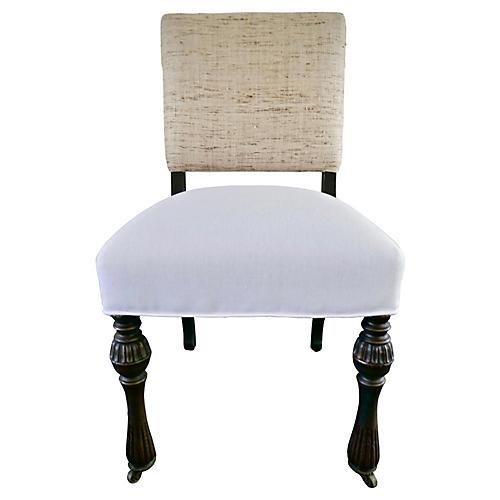 Antique Side Chair w/ Raw Silk & Linen