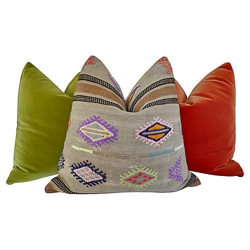 Kilim & Belgian Velvet Pillows, S/3