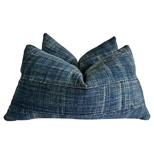 African Faded Indigo Pillows, S/2