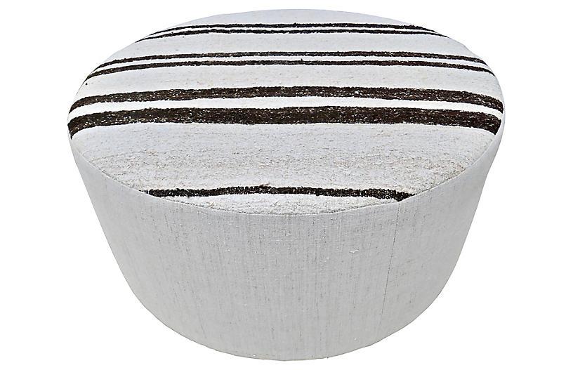 Large Anatolian Kilim Hemp/Wool Ottoman