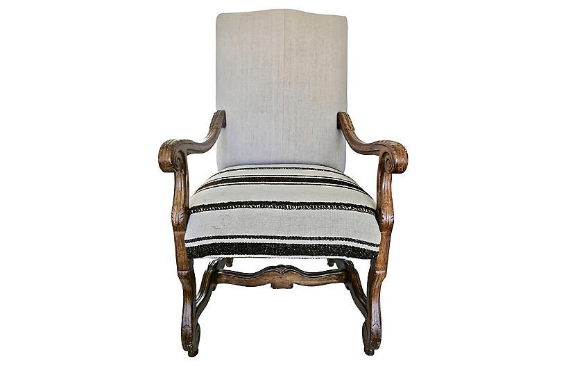 Vintage Highback Berber Kilim Armchair