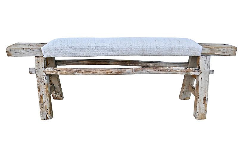 Natural Antique Shandong Elm Bench