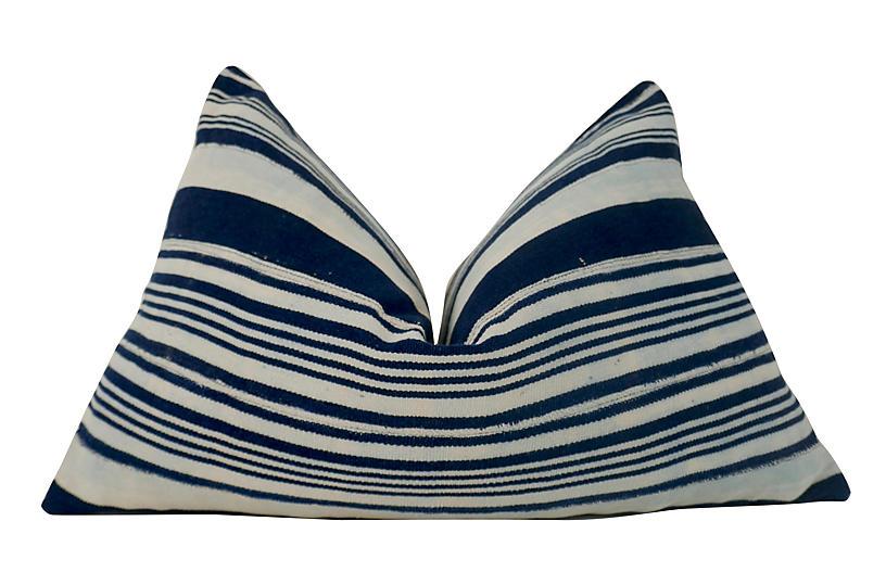 Vintage Mali Tribal Indigo Blues Pillow