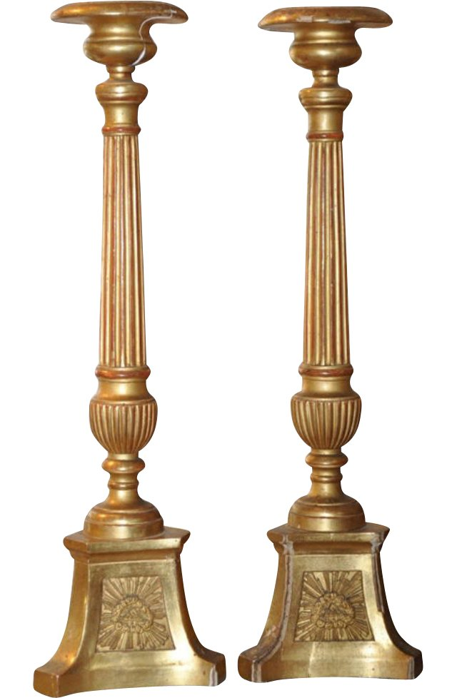 Antique Giltwood Candlesticks, Pair