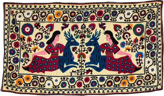 Suzani Coverlet, Figural w/ Deer