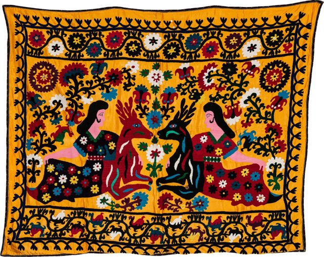 Vibrant Suzani Coverlet, Women & Deer